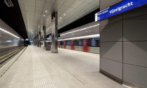 Nederland, Amsterdam, 10 januari 2018.  Aanleg Noord-Zuidlijn van de Amsterdamse Metro. Station Vijzelgracht. Stand van zaken.  The City of Amsterdam is building a new subway (underground) line. The tunnel is partly constructed underneath the old part of the city. The completion of the metro line is scheduled for 2018.   Foto: Ge Dubbelman/Hollandse Hoogte.